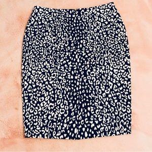 Banana Republic Black White Leopard Pencil Skirt